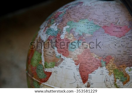 detail of a vintage world globe - stock photo