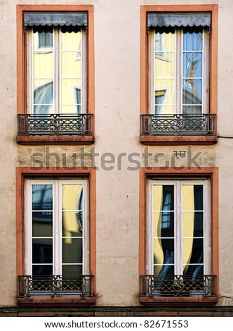 Detail of A wall in old Lyon town (France) - stock photo