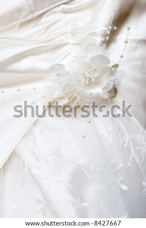 Detail of a white wedding dress