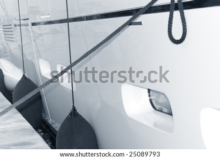 Detail of a white yacht