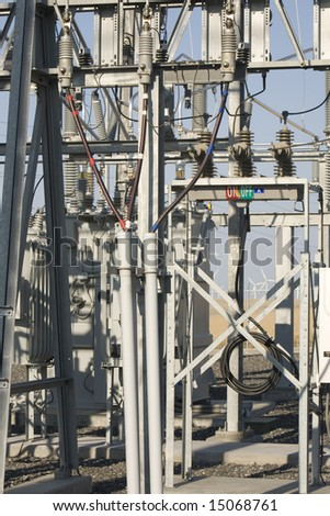 detail of a wind farm power substation - stock photo