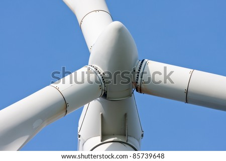 detail of a windmill with blue sky - stock photo