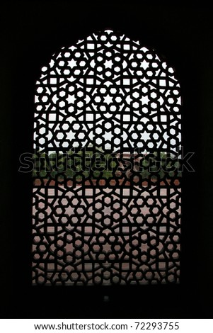 Detail of a window at the  Humayun tomb in New Delhi - stock photo