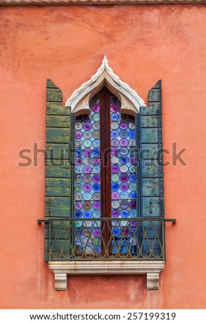 Detail of a window in Venice, Italy - stock photo