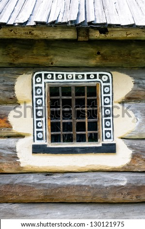 Detail of a window of a typical ukrainian antique house, in Pirogovo near Kiev