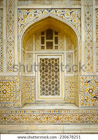 Detail of a window of Itimad Ud Daulah's tomb in Agra, Uttar Pradesh, India. Also known as the Jewel Box or the Baby Taj. - stock photo