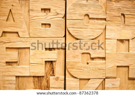 Detail of a wooden alphabet - stock photo
