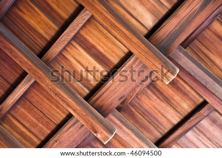 Detail of a wooden ceiling in a Japanese temple - stock photo