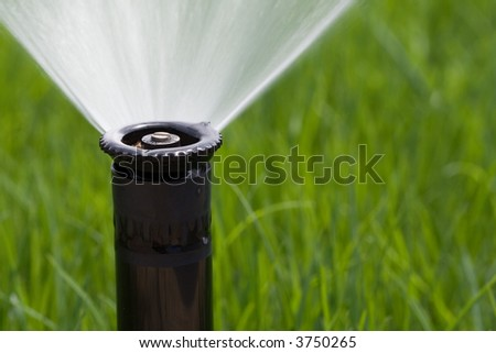 Detail of a working lawn sprinkler head watering the grass - stock photo