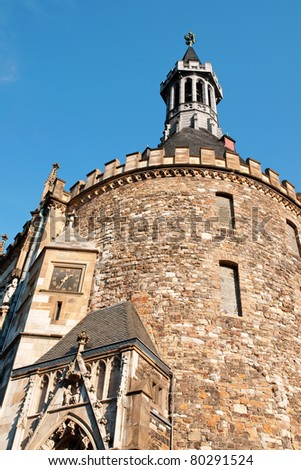 Detail of Aachen Town Hall, in gothic style, was built by citizens on the ruins of Charlemagne's Palace in the 14th Century. - stock photo