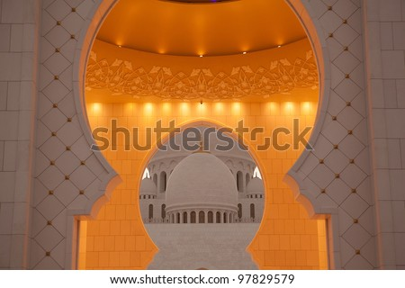 Detail of Abu Dhabi Sheikh Zayed White Mosque - stock photo