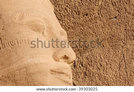 Detail of Abu Simbel Great Temple. It was constructed for the pharaoh Ramesses II who reigned for 67 years during the 13th century BC - stock photo
