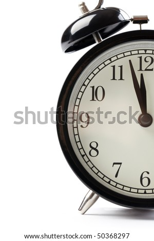detail of alarm clock on white background - stock photo