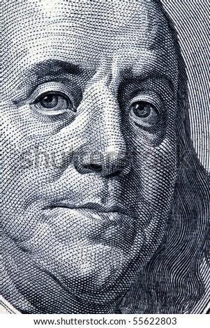 Detail of American dollar bills. Franklin - stock photo