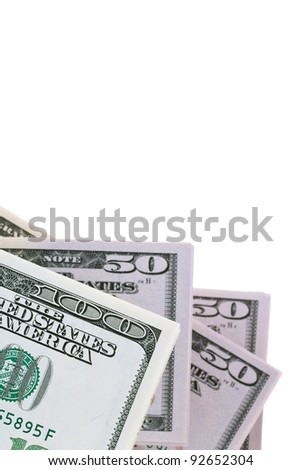 detail of american dollar bills on a white background