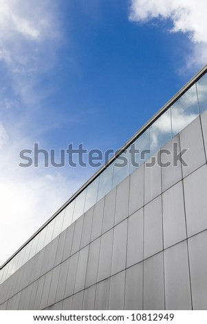 Detail of an aluminum and glass facade