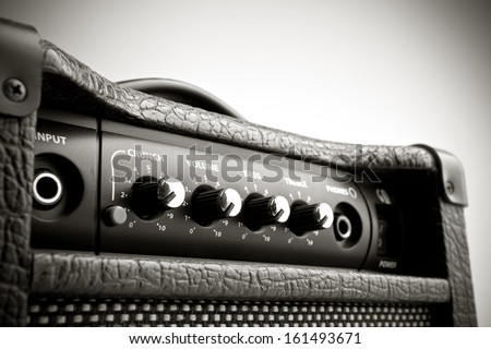 Detail of an amplifier for electric guitar - stock photo