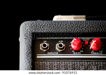 Detail of an amplifier for electric guitar or bass - stock photo