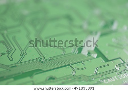 Detail of an electronic printed circuit board with swallow depth of field