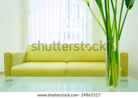 Detail of an elegant waiting room - stock photo