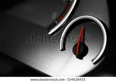 Detail of an empty gauge with a pointing needle - stock photo