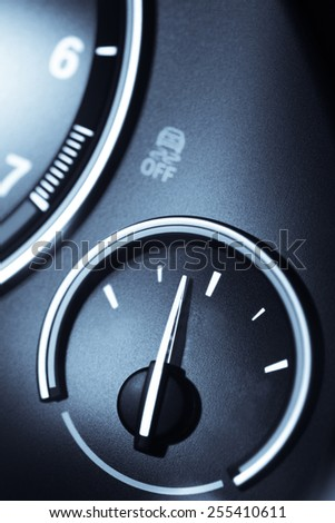 Detail of an empty gauge with a pointing needle. - stock photo