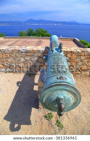 Detail of an old canon on the walls of Saint Tropez fortress, French Riviera, France - stock photo