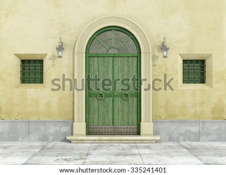 Detail of an old facade with green doorway and two little windows - 3D Rendering - stock photo