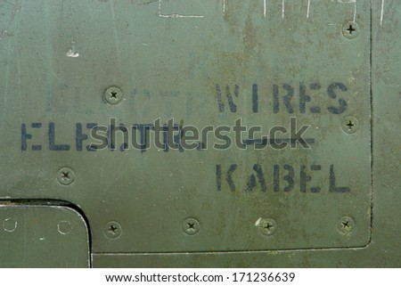 Detail of an old grungy military aircraft!.NO COPYRIGHT ISSUE!!!! ONLY INSTRUCTIONS IN ENGLISH AND GERMAN!!!. - stock photo