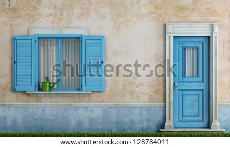 detail of an old house with blue wooden windows and front door - rendering - stock photo