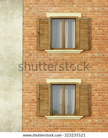 Detail of an old house with brick wall and  two wooden window -3D Rendering - stock photo