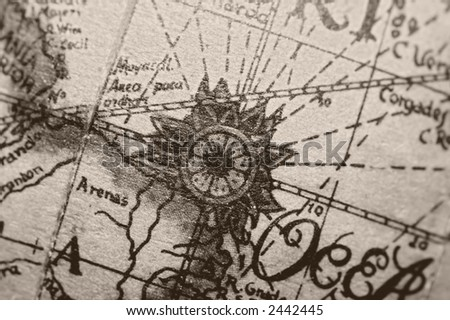 Detail of an old map. Sephia tone filter - stock photo