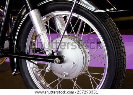 Detail of an old motorbike brakes. Classic motorbike brakes. - stock photo
