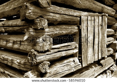 Detail of an old pioneer era log cabin in Great Smoky Mountains National Park - stock photo