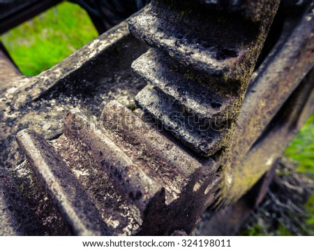 Detail Of An Old Rusty Industrial Boat Winch - stock photo