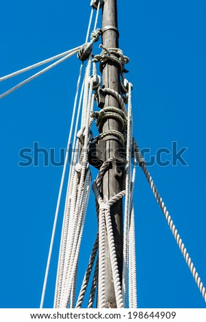 Detail of an old sail mast on veteran boat. - stock photo