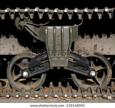 Detail of an old tank caterpillar.(Square frame) - stock photo