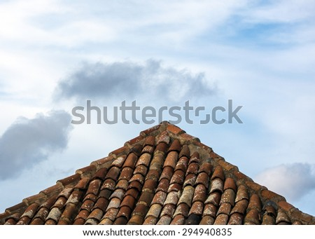 Detail of an old tile roof