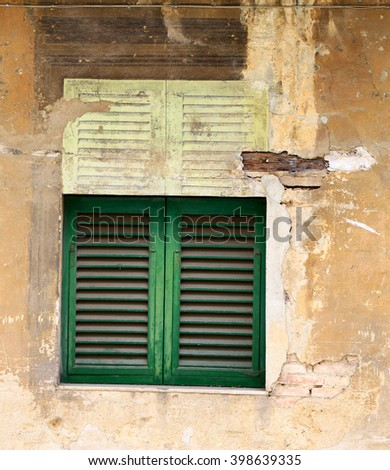 Detail of an old wall in Tuscany - stock photo