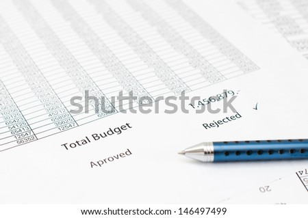 Detail of an rejected budget document