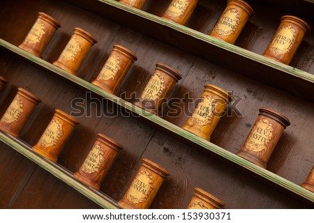 Detail of ancient drug store (pharmacy) with wooden containers on shelves.