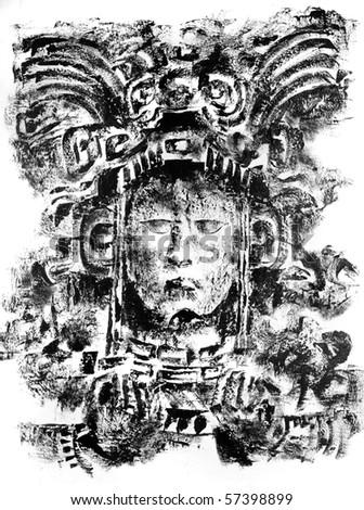 Detail of ancient Mayan Gods and demons at Copan, Honduras - stock photo