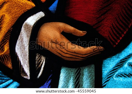 Detail of Antique Stained Glass 2 - stock photo