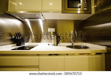 Detail of apartment kitchen. - stock photo