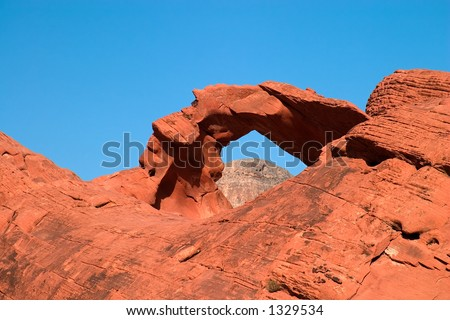 Detail of Arch Rock in Valley of Fire State Park - stock photo