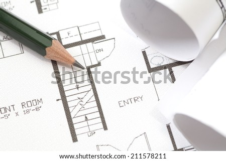 detail of architectural plan use for architect concept - stock photo