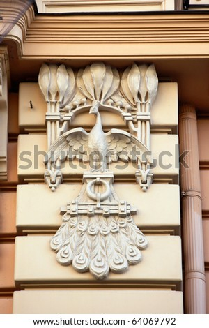 Detail of Art Nouveau (Jugenstil) building in The historic center of Riga, Latvia. - stock photo