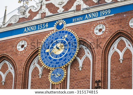 Detail of astronomical clock on the House of Blackheads, Riga, Latvia - stock photo