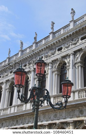 Detail of balconies and sculptures. Piazza san Marco, Venice, Italy - stock photo