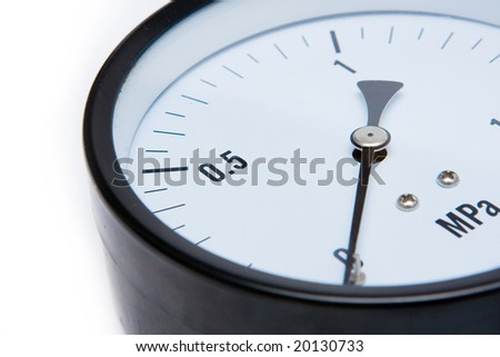 Detail of barometer on the white background - stock photo